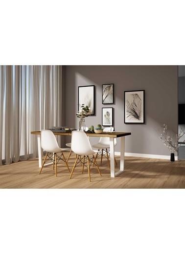 Woodesk Hayal Masif Ceviz Renk 200x70 Sandalyeli Masa Takımı CPT7333-200 Kahve